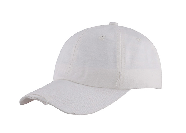 White Fitted Baseball Cap No Logo Dad Hat