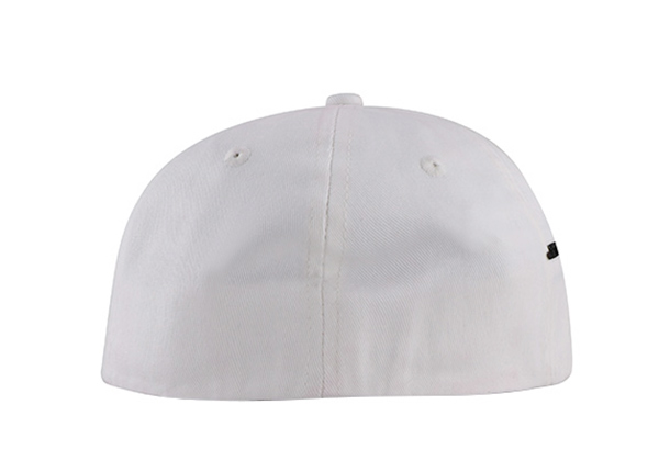 Back of No Logo White Fitted Baseball Cap