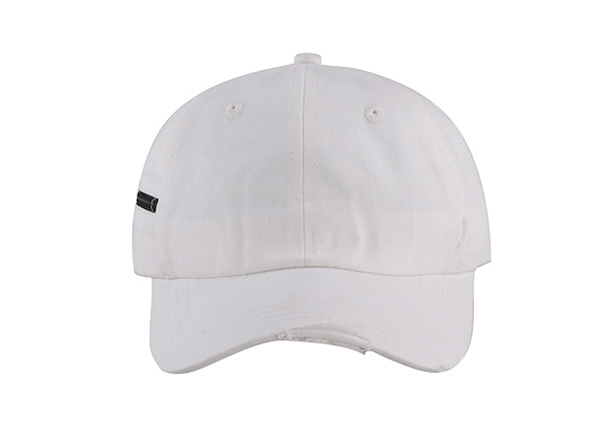Front of No Logo White Fitted Baseball Cap