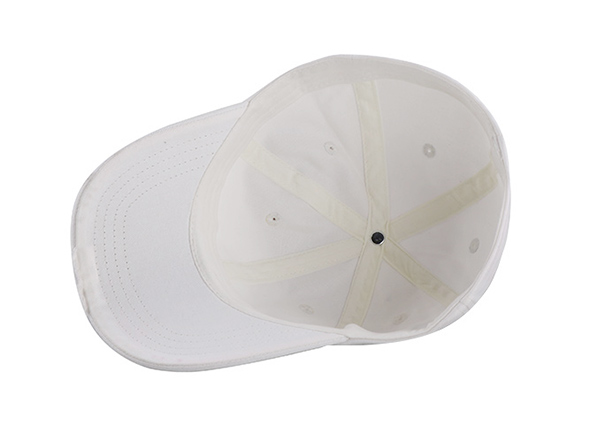 Inside of No Logo White Fitted Baseball Cap