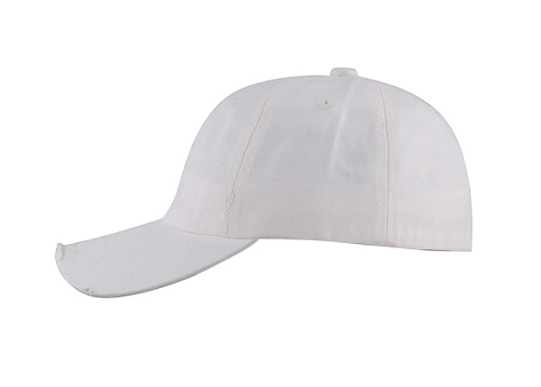 Side of No Logo White Fitted Baseball Cap
