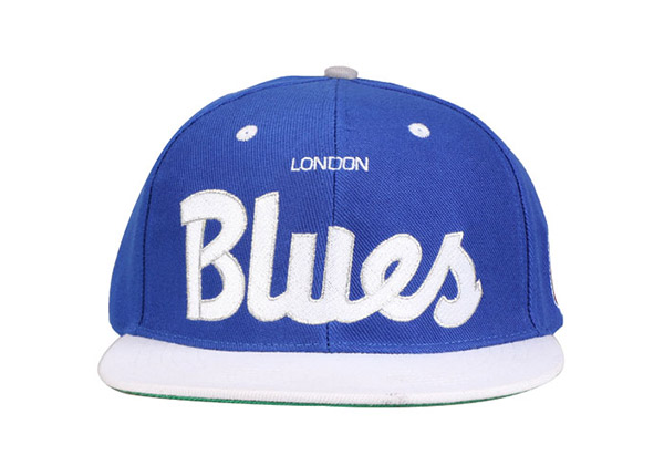 Front of  6 Panel Blue High Quality Hat With Green Underbill