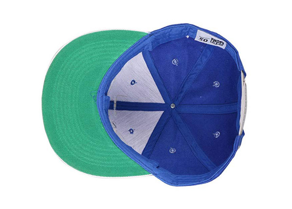 Inside of  6 Panel Blue High Quality Hat With Green Underbill
