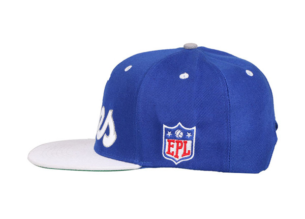 Slant of  6 Panel Blue High Quality Hat With Green Underbill
