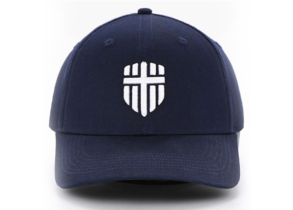 Front of Adjustable Premium Baseball Cap With Embroidred White Logo