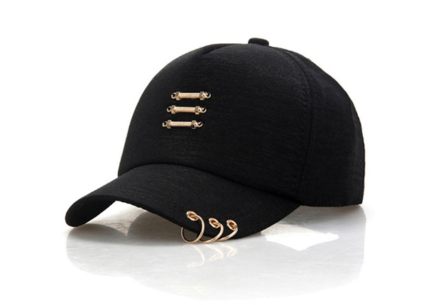 Slant of Black Hipster Baseball Hats With Rings