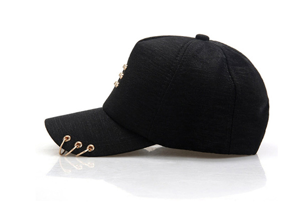 Side of Black Hipster Baseball Hats With Rings