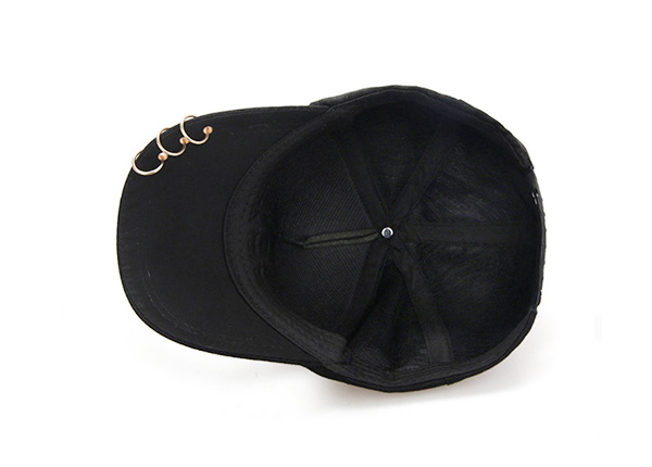 Inside of Black Hipster Baseball Hats With Rings