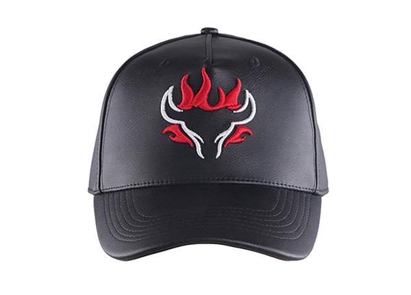 Front of Custom Black Leather Team Baseball Hat