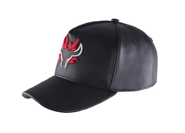 Slant of Custom Black Leather Team Baseball Hat