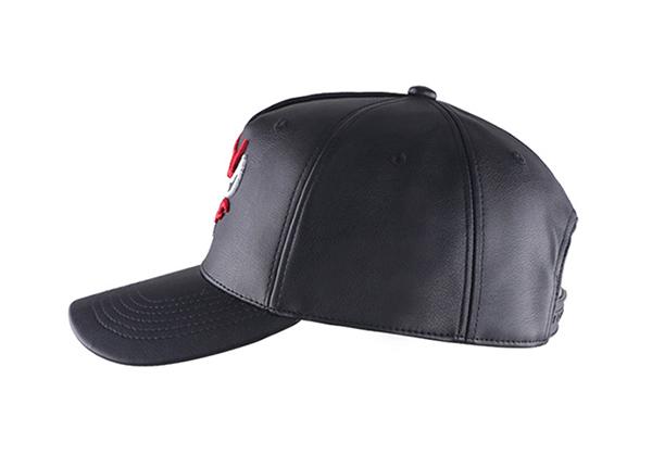 Side of Custom Black Leather Team Baseball Hat
