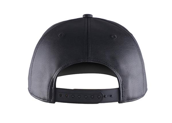 Back of Custom Black Leather Team Baseball Hat