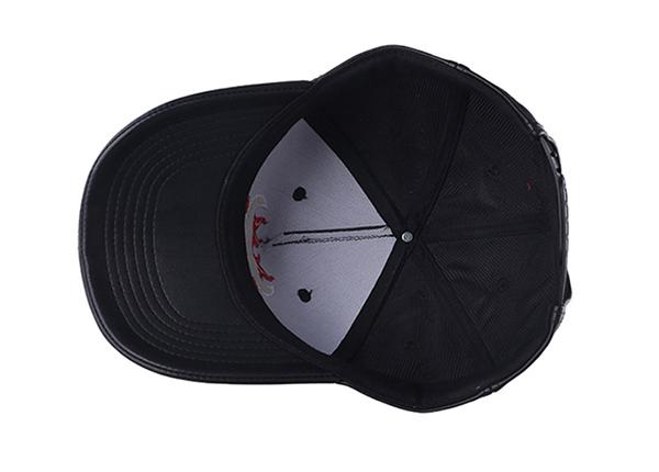 Inside of Custom Black Leather Team Baseball Hat