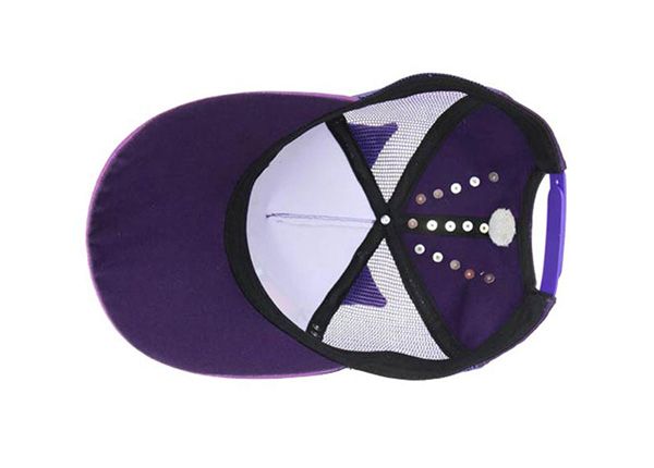 Inside of Purple Kids Cool Fitted Baseball Cap