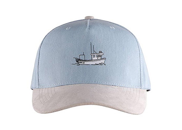 Front of Custom 5 Panel Blue Baseball Cap With Suede Brim