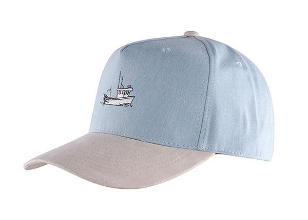 Slant of Custom 5 Panel Blue Baseball Cap With Suede Brim
