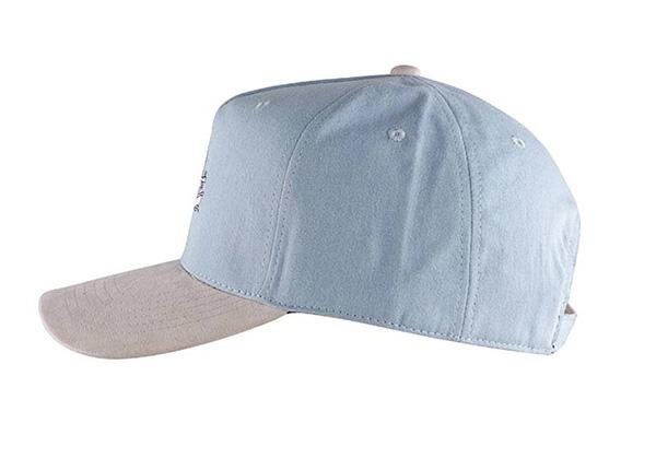 Side of Custom 5 Panel Blue Baseball Cap With Suede Brim