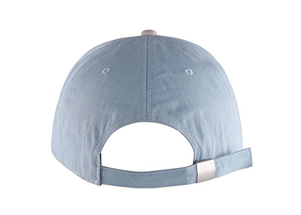 Back of Custom 5 Panel Blue Baseball Cap With Suede Brim