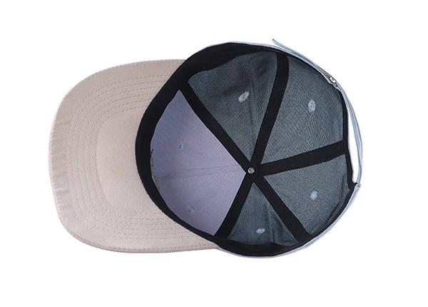 Inside of Custom 5 Panel Blue Baseball Cap With Suede Brim