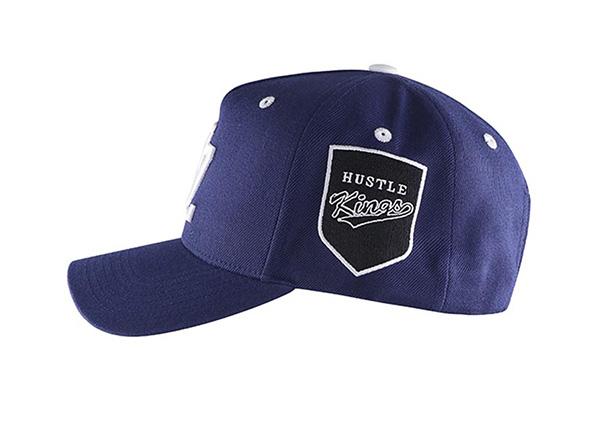 Side of Navy Blue Baseball Cap With Khaki Underbill