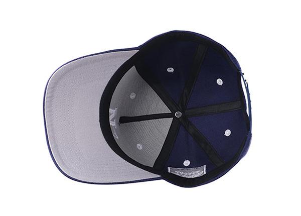 Inside of Navy Blue Baseball Cap With Khaki Underbill