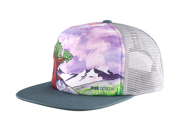 Slant of Custom Youth Flat Bill Baseball Trucker Hat