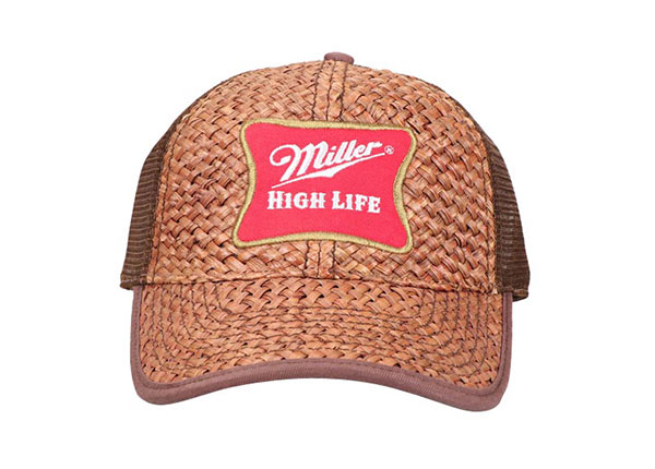 Front of Custom Brown Trucker Straw Baseball Hat