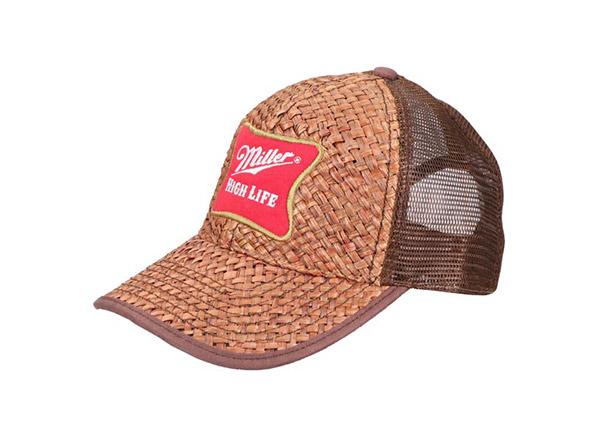 Slant of Custom Brown Trucker Straw Baseball Hat