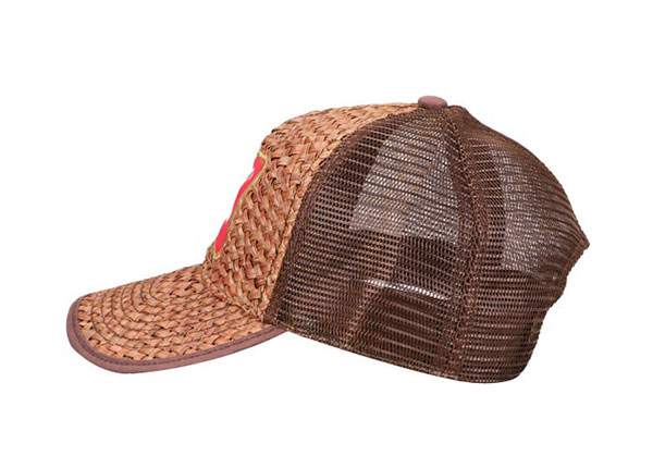 Side of Custom Brown Trucker Straw Baseball Hat