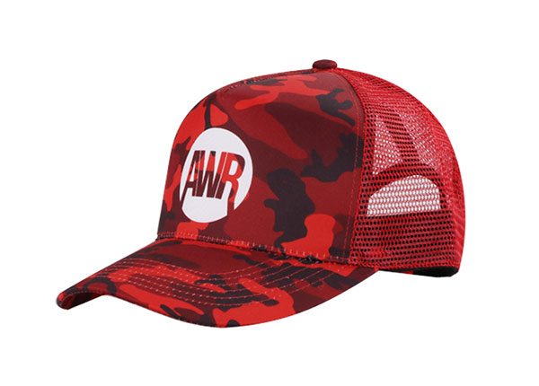 Slant of Custom Red Digital Camo Baseball Trucker Hat