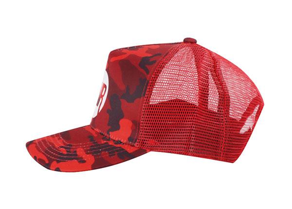 Side of Custom Red Digital Camo Baseball Trucker Hat