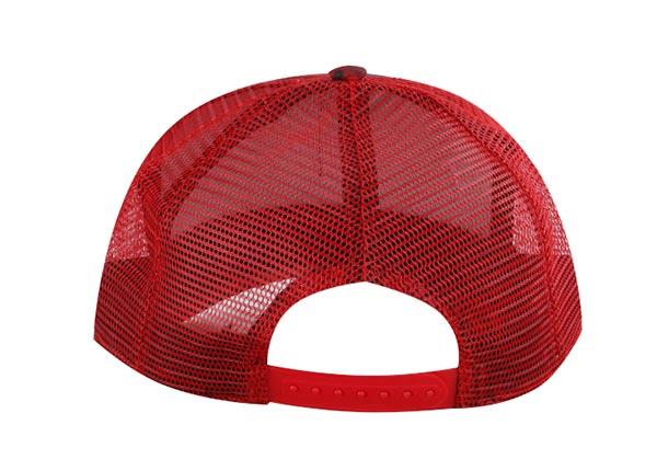 Back of Custom Red Digital Camo Baseball Trucker Hat