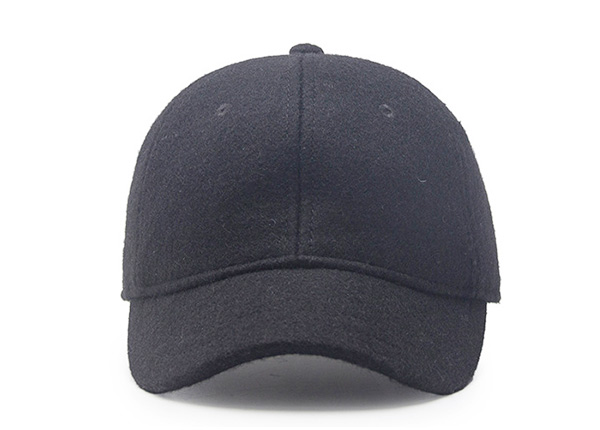 Front of Blank Black Short Brim Baseball Cap