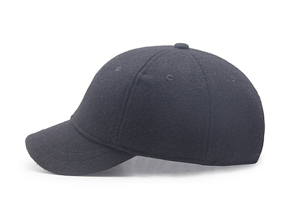 Side of Blank Black Short Brim Baseball Cap