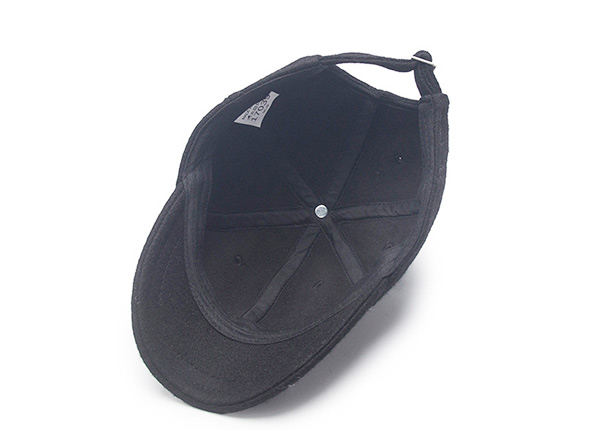 Inside of Blank Black Short Brim Baseball Cap