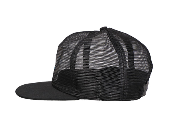 Side of Custom Black All Mesh Baseball Cap