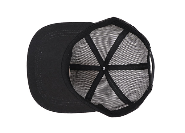 Inside of Custom Black All Mesh Baseball Cap