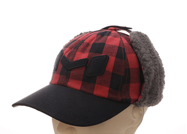 Plaid Baseball Caps Custom Embroidered Hats With Earflap For Men