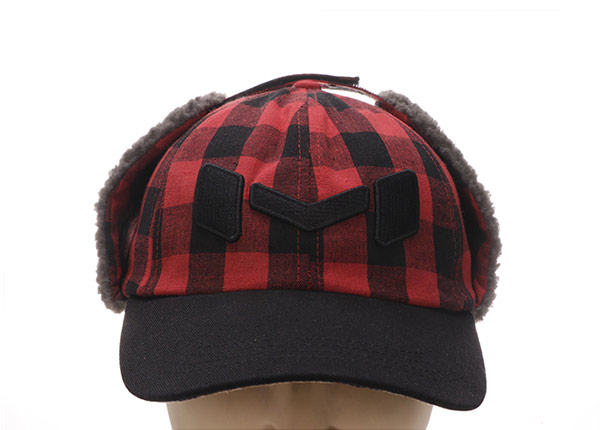 Front of Custom Plaid Embroidered Hats With Earflap For Men