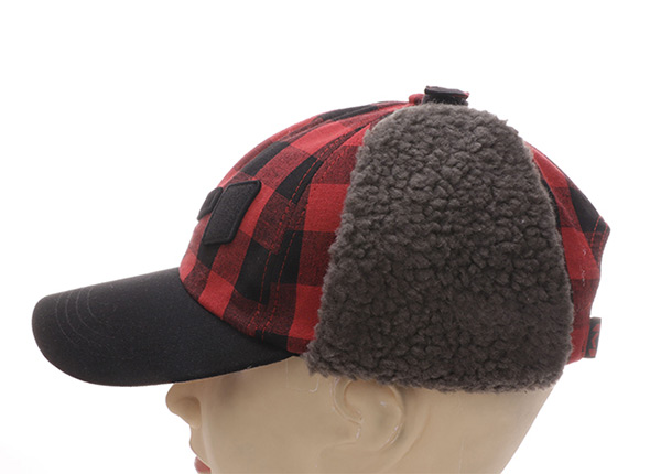 Side of Custom Plaid Embroidered Hats With Earflap For Men