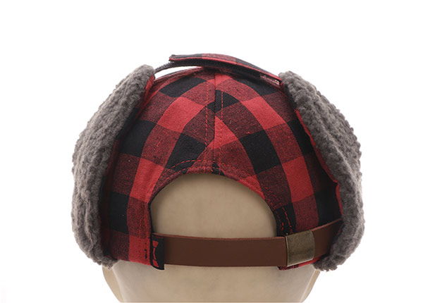 Back of Custom Plaid Embroidered Hats With Earflap For Men