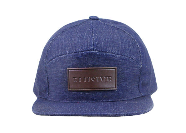 Front of Custom 7 Panel Denim Baseball Cap With Patch