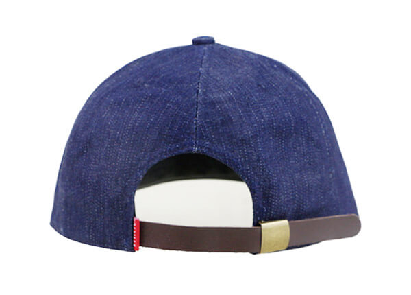 Back of Custom 7 Panel Denim Baseball Cap With Patch