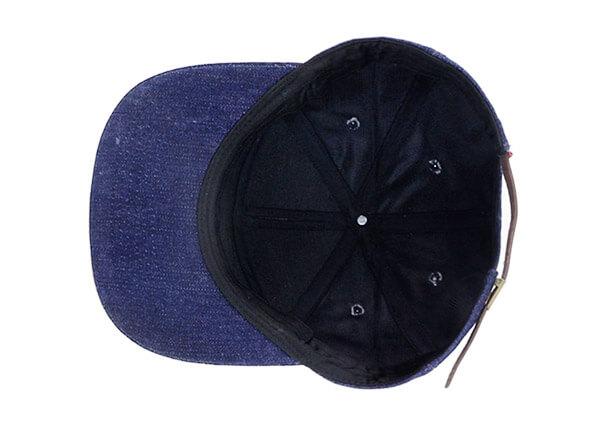 Inside of Custom 7 Panel Denim Baseball Cap With Patch