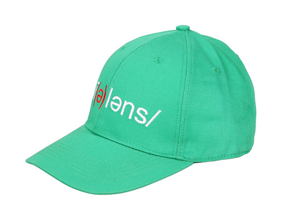Lime Green Baseball Cap with Embroidered Logo For Sale