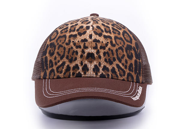Front of Low Profile Brown Canvas Leopard Print Trucker Cap