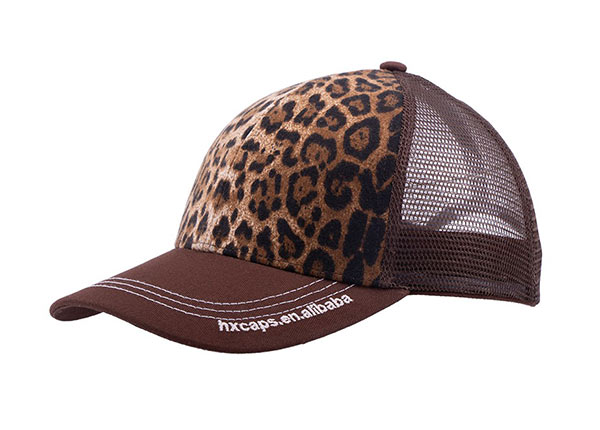 Slant of Low Profile Brown Canvas Leopard Print Trucker Cap