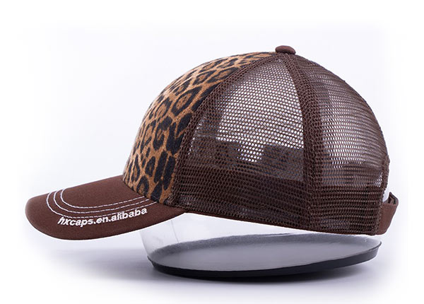 Side of Low Profile Brown Canvas Leopard Print Trucker Cap