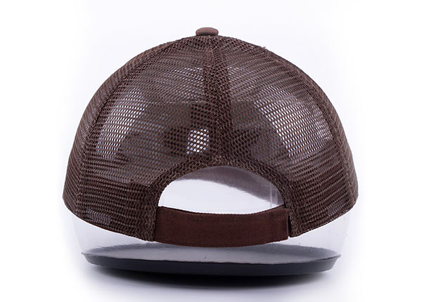 Back of Low Profile Brown Canvas Leopard Print Trucker Cap