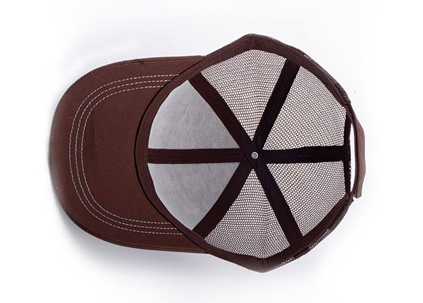 Inside of Low Profile Brown Canvas Leopard Print Trucker Cap